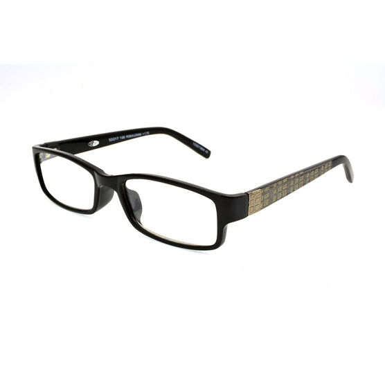 Foster Grant Derick Reading Glasses with Case - Black/Gold - 1.75