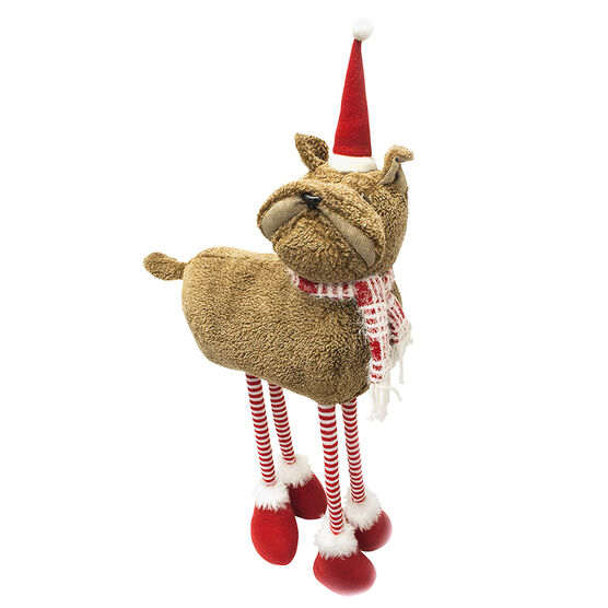 Christmas Standing Dog with Hat and Scarf - 24.5in