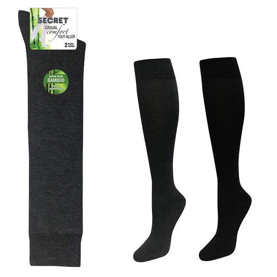 Secret Nature Bamboo Knee High Socks - Black/Charcoal - 2 pair