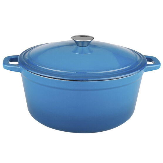 Neo Cast Iron Oval Covered Casserole - Blue - 5qt