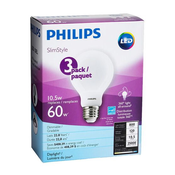 Philips Daylight Slim - 10.5w = 60W - 3 pack