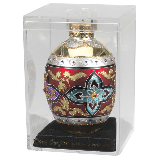 Winter Wishes Faberge Glass Egg - 80mm - Assorted