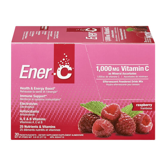 Ener-C Vitamin C Powered Drink Mix - 1000mg - Raspberry - 30's