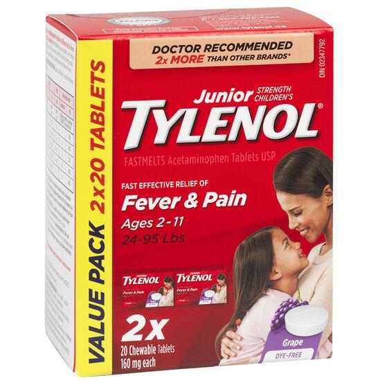 Tylenol* Junior Children's FastMelts Chewable Tablets - Grape - 2 x 20's