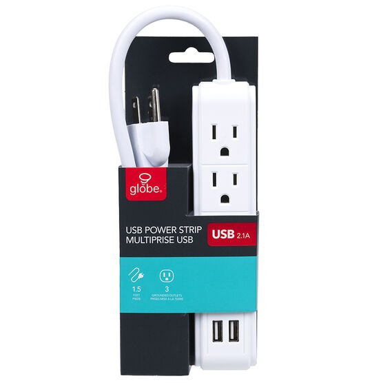 Globe Power Strip with 2 USB + 3 Outlets - 78084