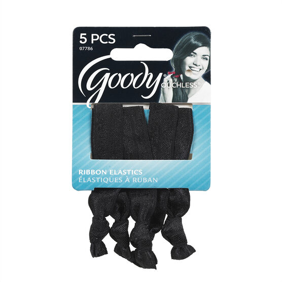 Goody Ouchless Ribbon Elastics - Black - 5's