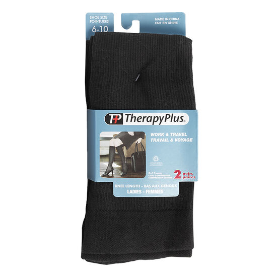 Therapy Plus Ladies Knee Length Socks - Argyle Pattern - 2 Pair
