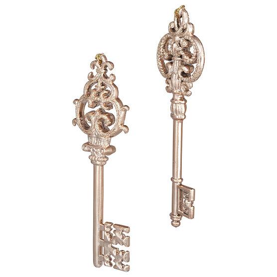 Modern Twist Key with Glitter Ornament - Rose Gold - 6 x 2in