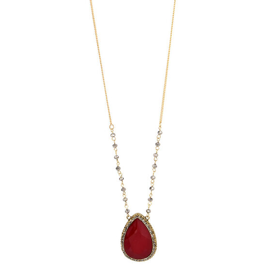 Haskell Stone Pendant Necklace - Berry/Gold