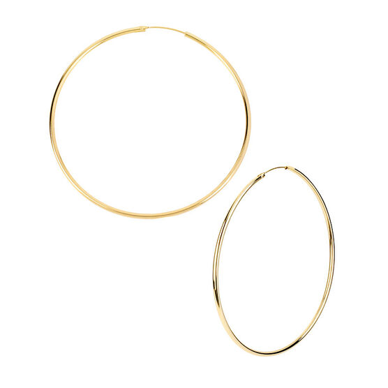 Kenneth Cole Large Shiny Hoop Earrings - Gold Tone