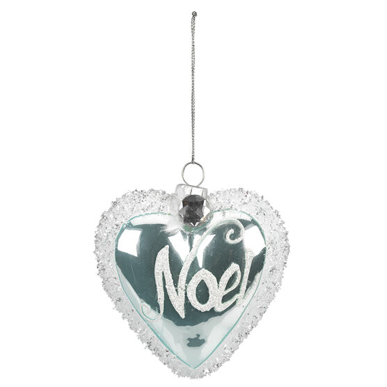 Polar Ice Frosted Heart Ornament - 4.25cm
