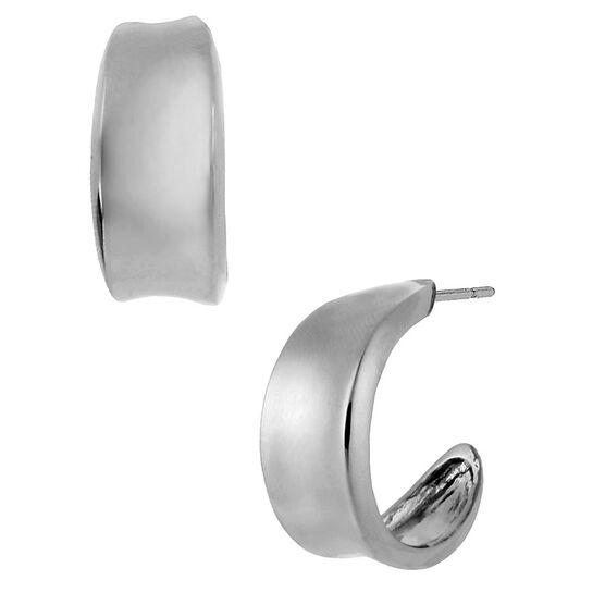 Robert Lee Morris Small Concave Hoop Earrings - Silver