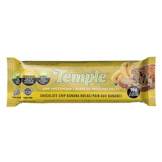 Temple Raw Protein Bar - Chocolate Chip Banana Bread - 70g