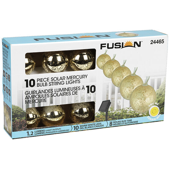 Fusion Solar Mercury Glass String Light - 10 piece