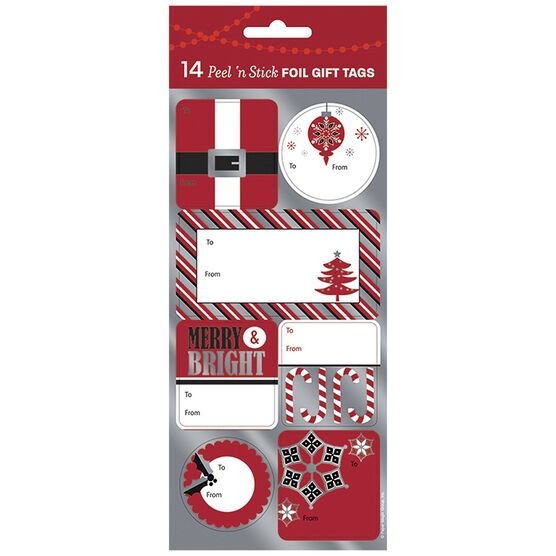 Christmas Red/White/Black Foil Gift Tags - 14s