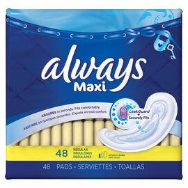 Always Maxi Pads - Regular - Unscented - 48's