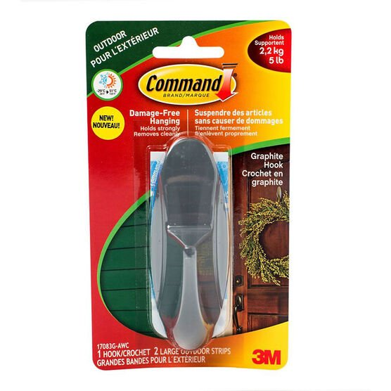 Command Large Outdoor Hook - Graphite - Single
