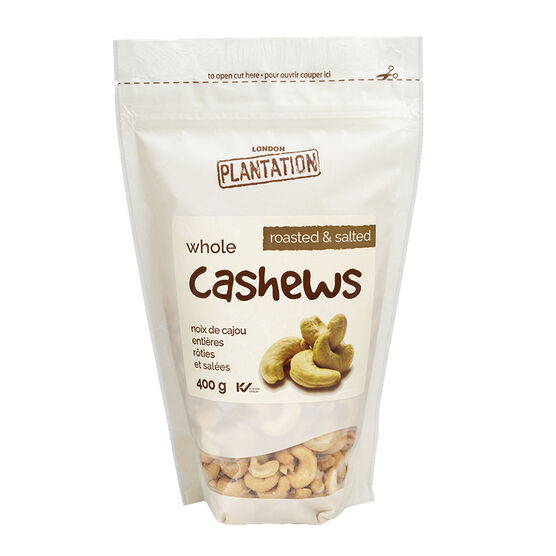London Plantations Whole Cashews - Roasted and Salted - 400g