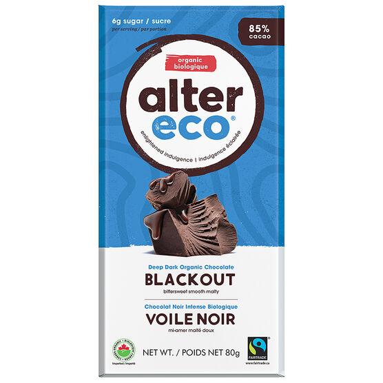 Alter Eco Dark Organic Chocolate Bar - 85% Caccao - Blackout - 80g