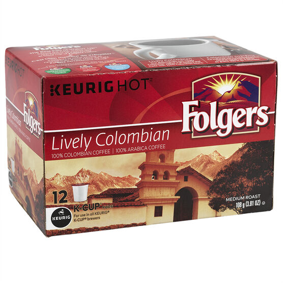 K-Cup Folgers Coffee - Lively Columbian - 12 Servings