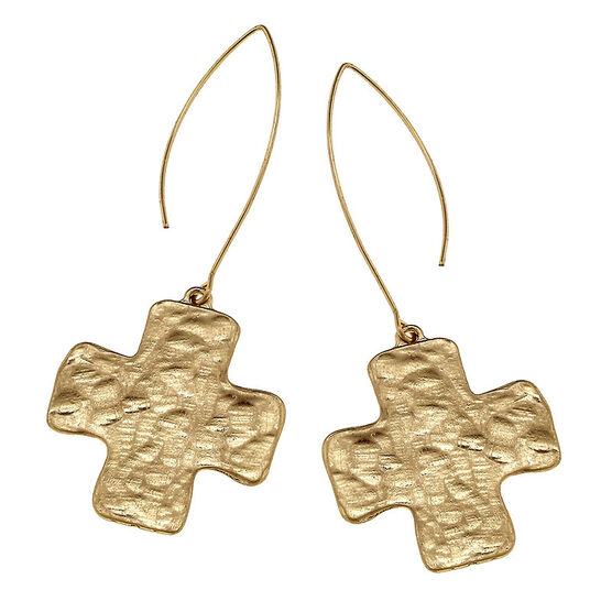 Canvas Hammered Square Cross Earrings - Gold