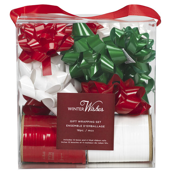 Winter Wishes Bow & Ribbon Set - Red/Green/White - 16 piece