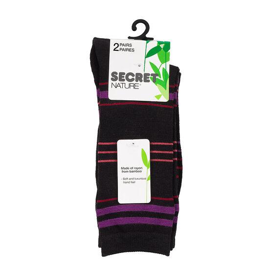 Secret Nature Crew Sock - Black - 2 pair