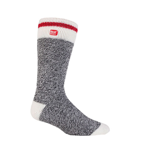 Heat Holders Men's Lite Cream Block Twist Sock - Charcoal