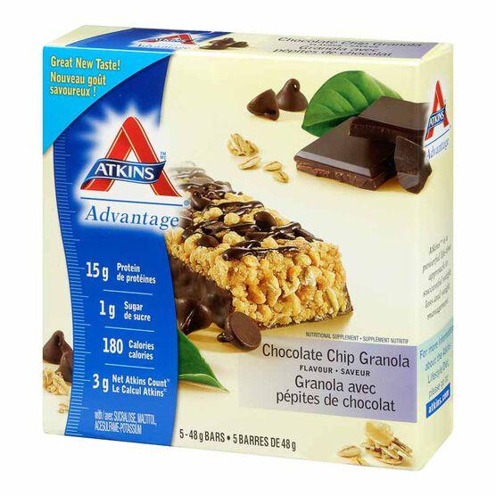 Atkins Advantage Bar - Chocolate Chip Granola - 5 x 48g
