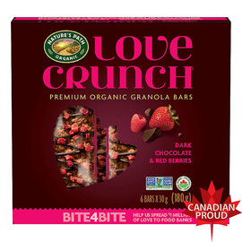 Nature's Path Organic - Love Crunch Premium Organic Granola Bars - Dark Chocolate & Red Berries - 6 Bars x 30g