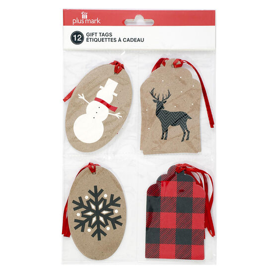 Plus Mark Kraft Gift Tags - 8's - Assorted