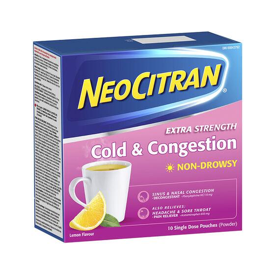 NeoCitran Extra Strength Cold & Congestion Non-Drowsy - Lemon - 10's