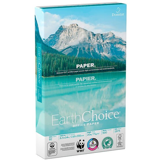 Domtar EarthChoice Legal Copy Printer Paper - 20lbs - 8.5 x 14 inch x 10 pack