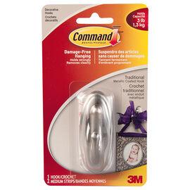 Command™ Traditional Medium Decorative Hook - Brushed Nickel