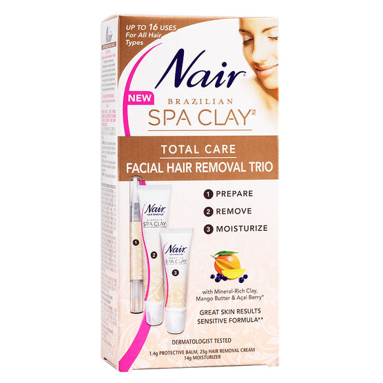 Nair Brazilian Spa Clay Total Care Facial Hair Removal Trio