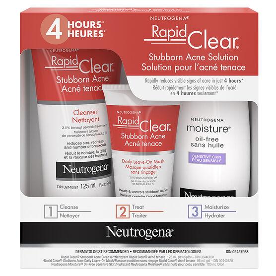 Neutrogena Rapid Clear Stubborn Acne Solution Kit - 3 piece