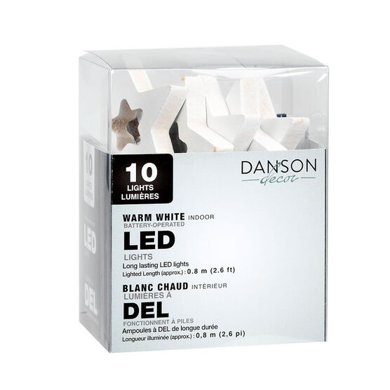 Danson Battery Operated Star/Tree LED Lights - White - 10's