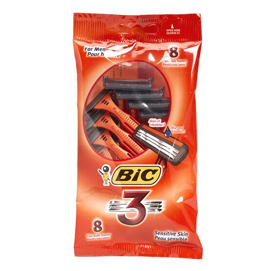 Bic 3 Triple Blade Shavers - Sensitive Skin - 8's