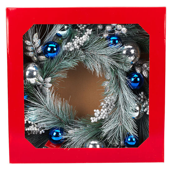 Danson Frosted Pine Wreath with Glitter Ornaments - 24in