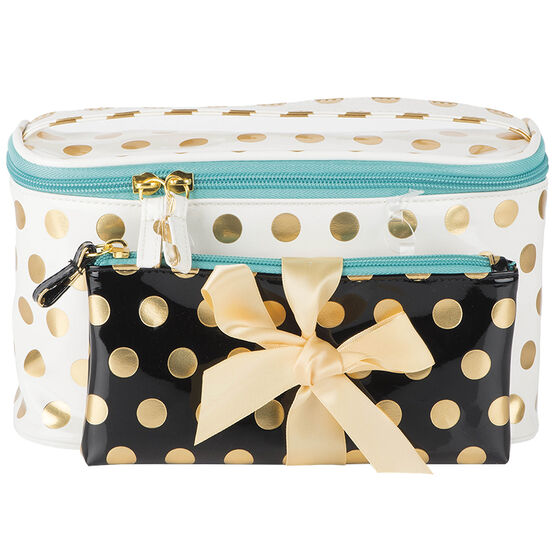 Modella Gold Dots Train Case - White - A000715LDC