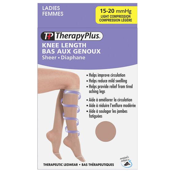 Therapy Plus Light Compression Ladies Knee High Socks - Nude - Extra Large