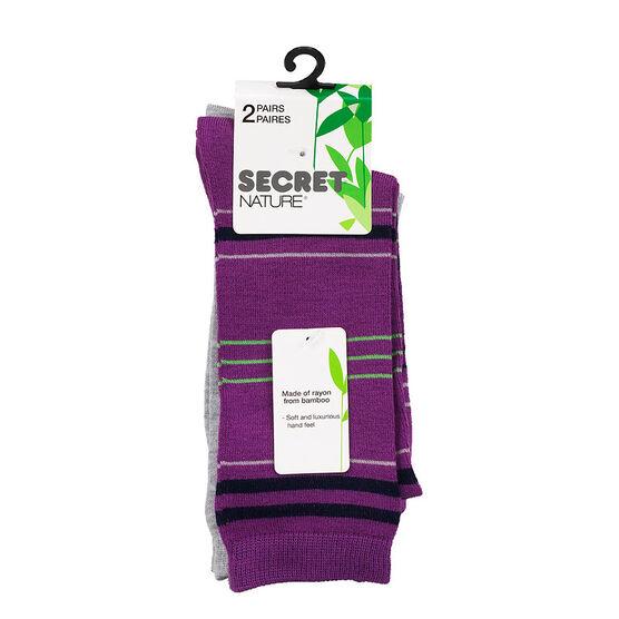 Secret Nature Crew Sock - Grey - 2 pair
