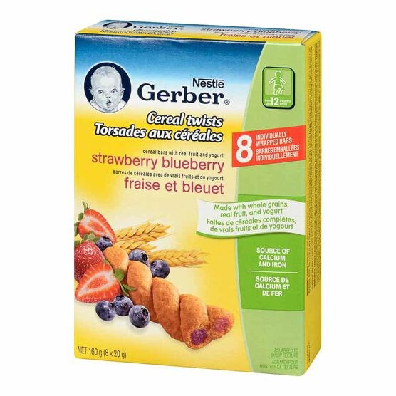 Gerber Graduates for Toddlers Cereal Twists - Strawberry Blueberry - 160g