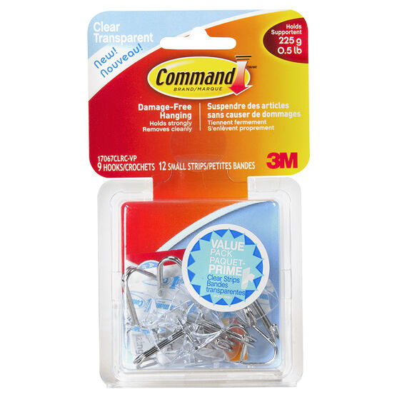 Command™ Small Wire Hooks Value Pack - Clear - 9's
