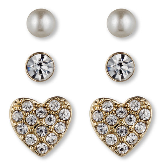 Lonna & Lilly Heart and Pearl Stud Earrings Trio - Gold Tone