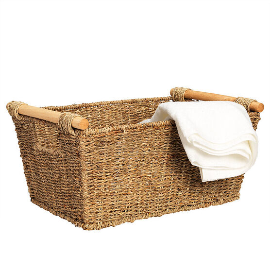 London Drugs Seagrass Basket with Cane Handles - Medium