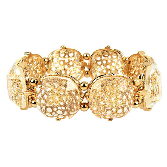 Haskell Stretch Bracelet - Clear/Gold