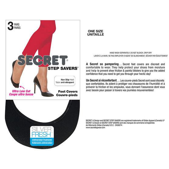 Secret Step Savers Non-Slip Heel Foot Cover - Black - 3 pairs