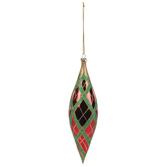 Christmas Tartan Check Teardrop Ornaments - Red - 202mm