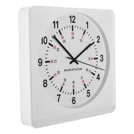 Marathon Large Analog Clock - White/White - CL030057WH-WH1